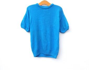 ON SALE Vintage Jumper |  Blue | Rose Pattern | Short Sleeved
