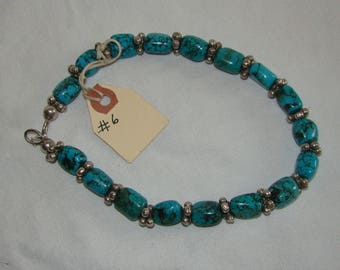 T-6 Native American Necklace,  Sterling Beads, Turquoise stone