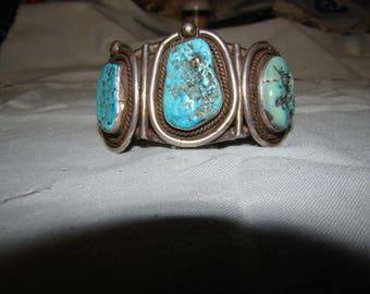 1-K Native American Sterling, Turquoise Bracelet