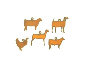 Farm Animal Rusty Metal Pendant/Charm Assortment