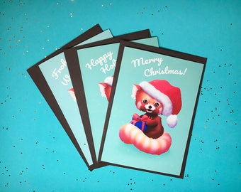 Cute Red Panda Christmas Card - Greeting Card - Holiday Card