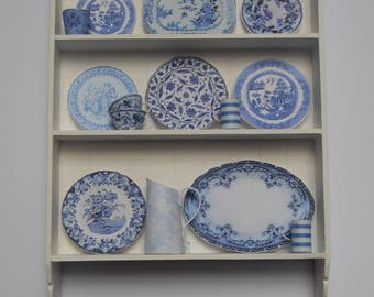 Best Blue Miniature China created in 1/12th scale, displayed on White Shelves