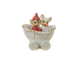 Vintage Pixie and Mouse in Carriage Figurine, Miniature Pixie Elf Mouse, Made in Japan, 1960's Christmas, Ceramic Elf, Pixie Figurine