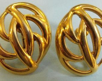 Vintage Napier Goldtone clip-on/screw back earrings