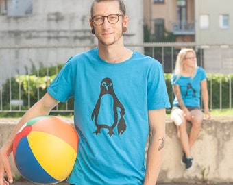 Penguin Paul - men - bio fair wear T-Shirt - Azur/blue