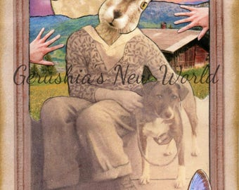 NEW To Print - Orben's Day Out  (Tiny Tale Art) -  Anthropomorphic Art, Collage, Mixed Media, rabbit, Story Art, Animal Art, Print