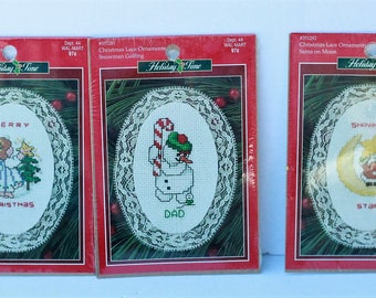 3 Leisure Arts Holiday Time Lace Ornament Kits Angel with Star, Snowman Golfing, Santa on Moon sealed