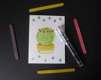 Cactus Greetings Cards - Set of 4 Cards - A6 - Watercolour Painted Cards - Moon Cactus, Barrel Cactus, Flowering Cactus.
