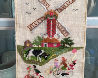 Vintage Dutch Embroidery Windmill Children on Bicycles Cross Stitch