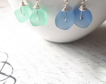 Seaglass wire wrapped silver earrings