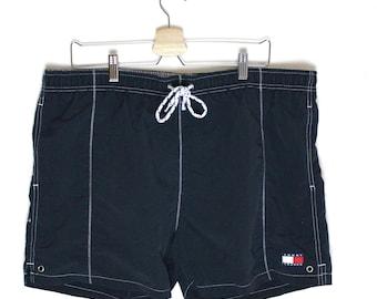 90s Vintage Tommy Hilfiger Tommy Trunks Swim Trunks 90s Tommy Navy Blue Tommy Flag Mens Swim Shorts Size L-XL
