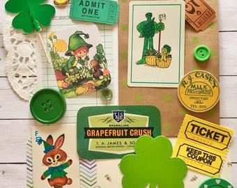 Mini Green/St. Patrick's Day Ephemera Pack/Scrap Pack/Shamrock/15+ Pieces