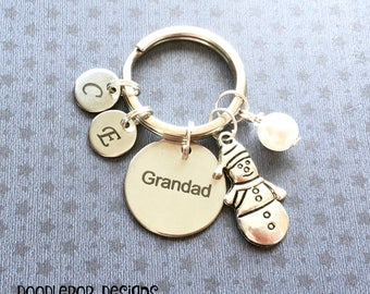 Personalised Grandad gift - Birthday gift for Grandad - Grandad keyring - Christmas gift - Snowman keyring - Stocking filler - Etsy UK