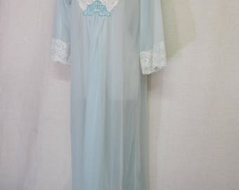 Mid Century Nightgown Pale Blue Nightgown Sheer Nylon Nightgown 1960's Nightgown