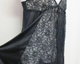 Black Nightgown Black Negligee Goth Nightgown Mad Men Nightgown Black Lace Nightgown