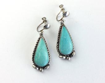 Vintage Navajo Turquoise Dangle Earrings Native American Sterling Silver Drop Earrings Southwestern Jewelry Antique Estate Jewelry