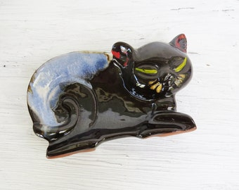 Cat Trinket Dish or Figurine- Black and Blue Cat Dish- 5 1/2""