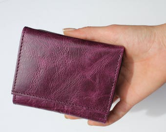 Small Grande Leather Trifold Wallet Purple