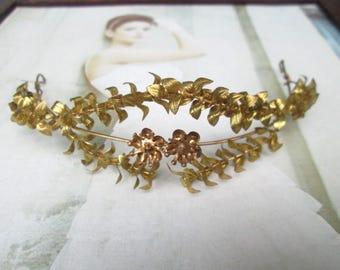 Vintage gold plated Myrtle Crown, wedding Crown Myrtle, gold plated bridal tiara vintage 1930 tiara wedding 02