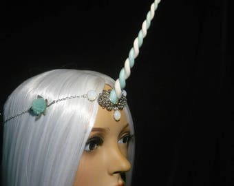 Frostblossom Unicorn - Tiara with handsculpted pearlescent horn
