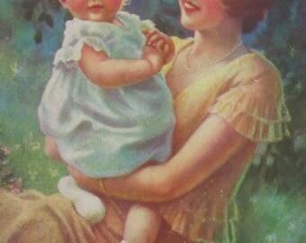 Adorable Mother &  Child - Original 1930's Calendar Art Print- 6 1/2 x 8 1/4