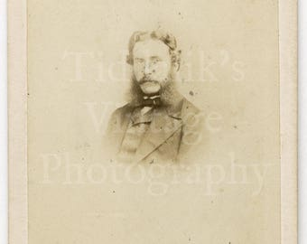CDV Carte de Visite Photo Victorian Young Man with Mutton Chops Portrait by W H Kent of Oxford Street London England