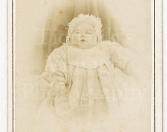 CDV Carte de Visite Photo Victorian Baby with Bonnet Portrait Identified Photo Portrait - Perin of Nancy France - Antique Photograph