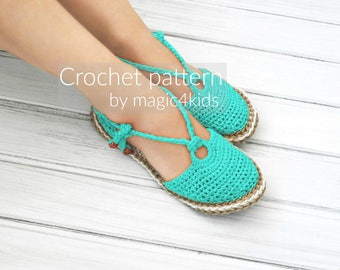 Crochet pattern-ring sandals with rope soles,soles pattern included,shoes,slippers,sandals,scuffs,loafers,women,adult,girl,cord,twine,laces