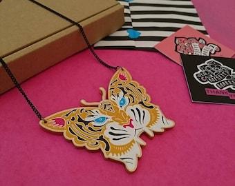 Tigerfly Necklace. Big Cat Necklace. Statement Necklace. Cat Necklace. Tiger Necklace. Butterfly Necklace. Animal Hybrid Necklace.