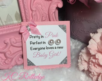 Pink and Gray Pearl Earring Baby Shower Favors, Girl Baby Shower Favors, Birthday Party Favors