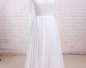 Soft Lace Wedding Dress Long Sleeves Chiffon Wedding Dress A Line Wedding Dress with Full Lace Back