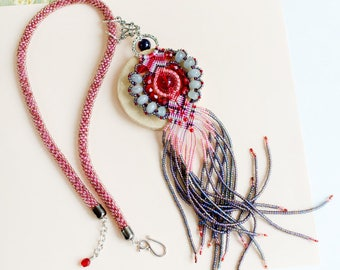 Fringe necklace, micro-macrame jewelry, bead crochet rope, statement, bohemian, boho chic, pink red gray purple, unique, long tassel, agate