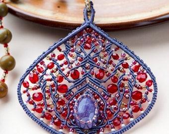 Macrame fig necklace, unique, amethyst, jasper, micro-macrame jewelry, gemstone, elegant, boho, beadwork, vegan, ficus carica, fruit, OOAK