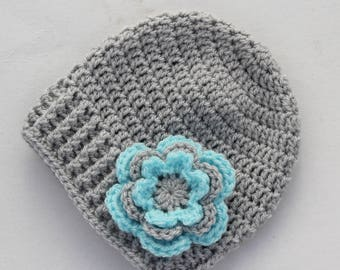 Baby hat, crochet baby hat, baby girl hat, silver grey and aqua, girl hat, infant hat, crochet beanie, baby beanie - MADE TO ORDER