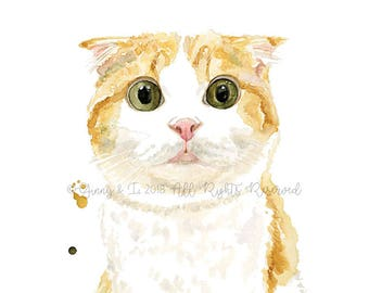 Cat Portrait, Custom Cat Painting, Pet Portrait, Cat Painting, Cat, Pet Painting, Animal Art, Animal Portrait, Watercolor, Art, Custom Pet