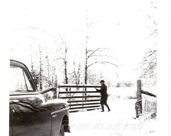 the gate ~ Vintage Snapshot Photo ~ winter silhouette