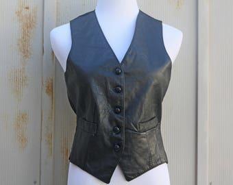 Black Leather Vest - Vintage Motorcycle Vest - 90s Grunge Vest - 80s Punk Vest - 1990s Moto Vest - 1980s Goth Vest - Biker Chick Vest