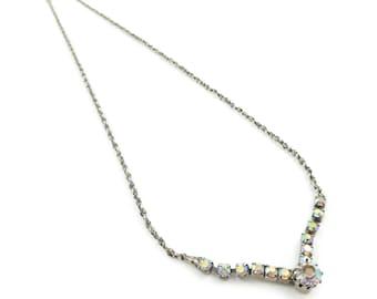Vintage Aurora Borealis Necklace, Chain