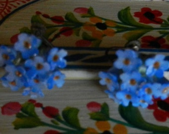 Vintage Denton China England Floral Blue Screw Back Earrings