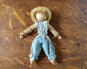Vintage wooden spool doll, hand crafted doll, country charm, spool craft, boy in straw hat