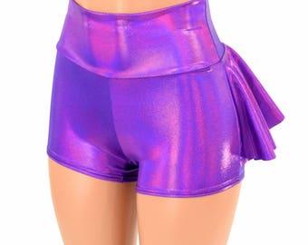Grape Purple Holographic High Waist Ruffle Rump Metallic Shiny Spandex Booty Shorts - 154940