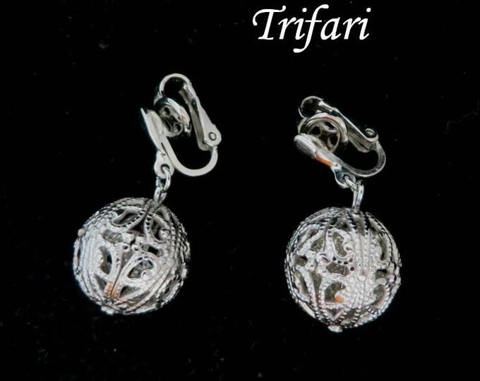 Trifari Dangling Ball Earrings | Vintage Filigree Clip-ons | Signed Designer Silver Tone Earrings