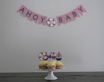 Ahoy Baby Shower Banner (Red/Navy)