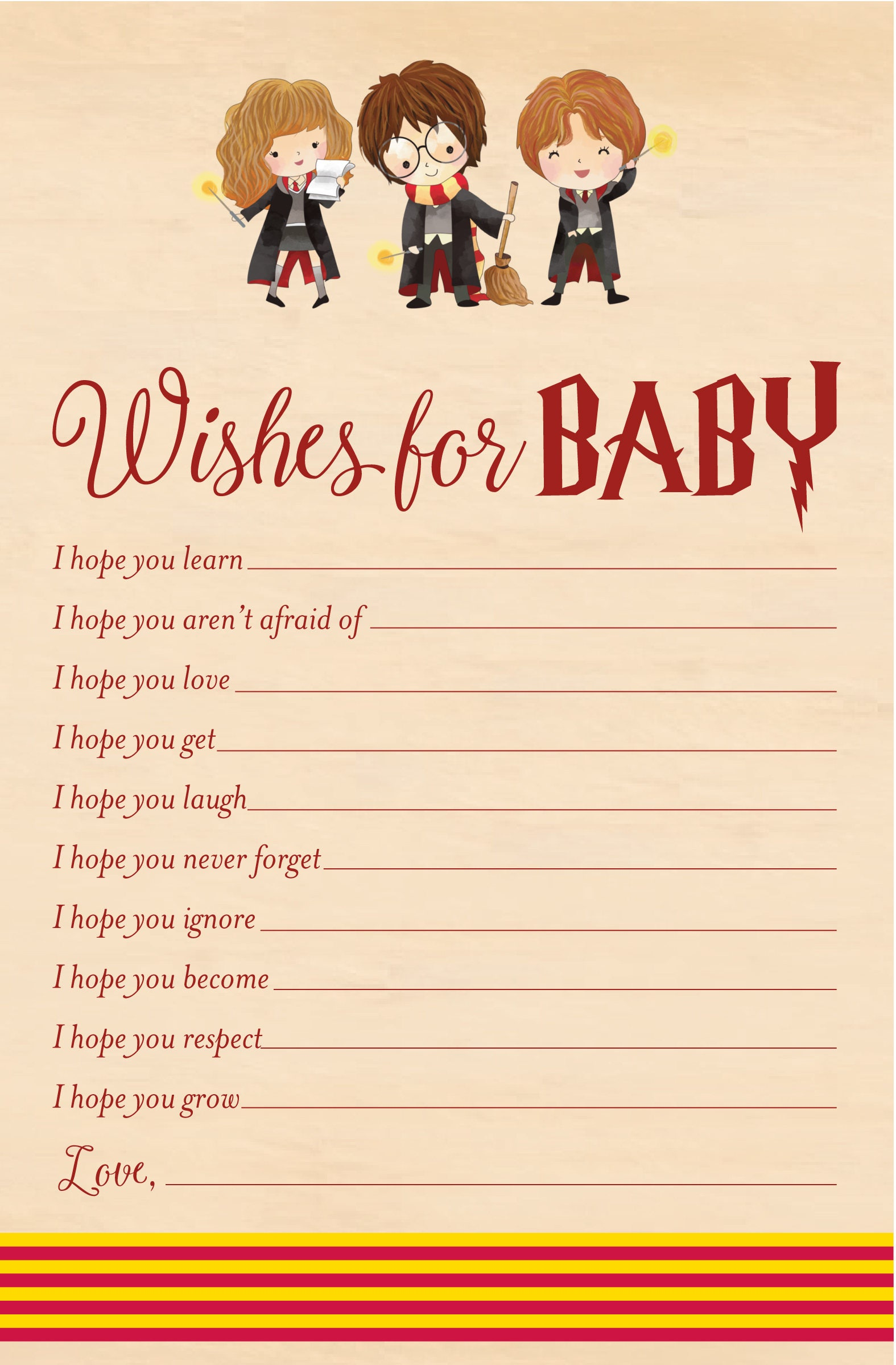 Harry Potter Wishes for Baby Baby Shower Printable Harry