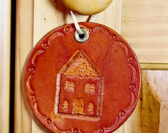 House Hand Carved Leather Wall Hanging Moving In Gift New Home Decor First Home Gift First House Wall Art Closing Gift Housewarming Gift