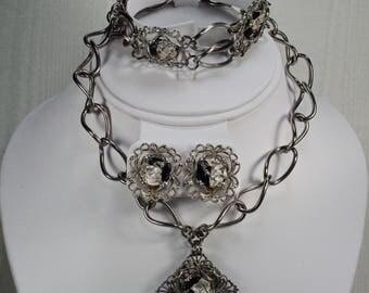 Vintage Foil Glass Necklace Set, Full Parure Set, Chunky Filigree Jewelry, Black Silver Lampwork Glass Necklace Set, Full Parure Under 50