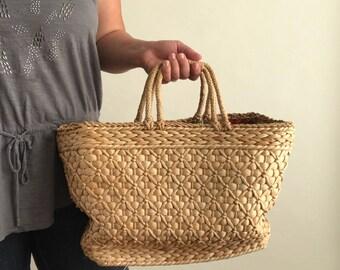 Vintage Straw Bag / Lined Straw Bag / Straw Market Bag / Woven Straw Bag