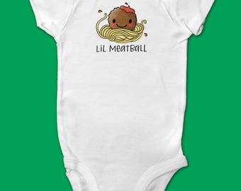 "Baby Onesie/Bodysuit Short Sleeve - Cute Hand Drawn Meatball with Hand Drawn Lettering ""Lil Meatball"""