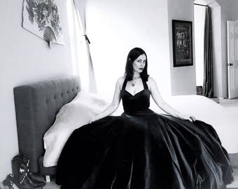 Gothic Bride BLACK Velvet Cherrybomb Ballgown, Retro Classic Halter, Alt Wedding Gown by Hardley Dangerous Couture, Pin Up Prom Wedding