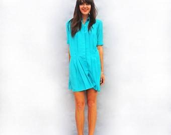 Blue Oversized Dress, Vintage Boho Dress, Pleated Dress, Short Sleeve Tunic Dress, 70s Bohemian Dress, Shirt Dress, Knee Length Dress Fun